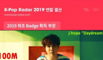 "BTS J-Hope Receives 100M Badge with ""Daydream"""